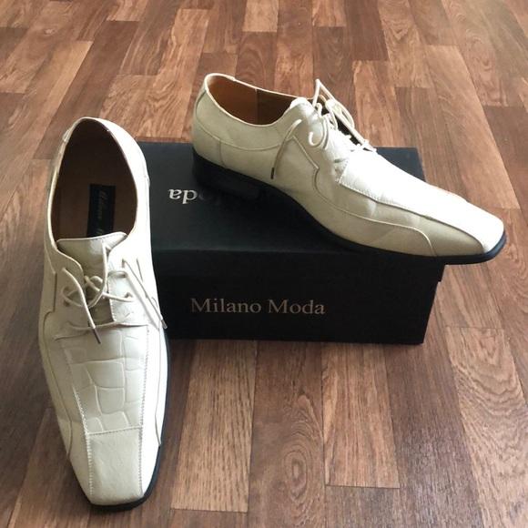 Mens Sz 4 Milky White Dress Shoes